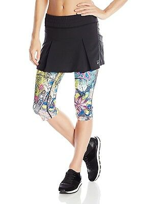 (X-Small, Black/Tantrum Print) - Skirt Sports Women's Jette Capri Skirt -