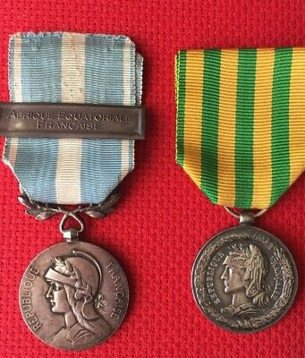 Two French medals Colonial 1st Type with AEF clasp & Tonkin Expedition 1883-1885