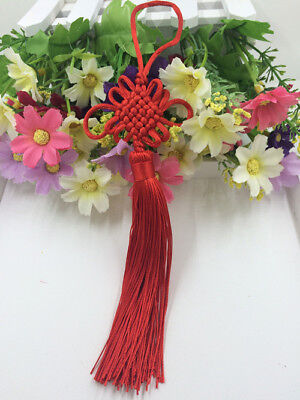 Chinese knot auspicious knot tassel delicate rayon junction Hang knot Red@4