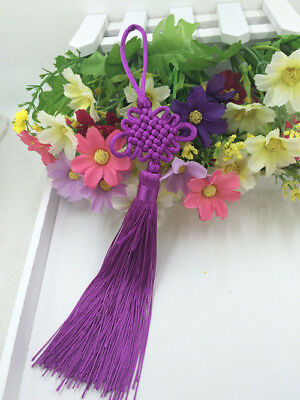 Chinese knot auspicious knot tassel delicate rayon junction Hang knot purple@3