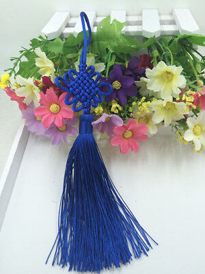 Chinese knot auspicious knot tassel delicate rayon junction Hang knot Dark blue#