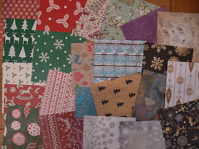 """PACK OF 25 CRAFTING PAPERS - CHRISTMAS DESIGNS - 10 x 10 cm (4""""x4"""") FOR CARDMAKI"""