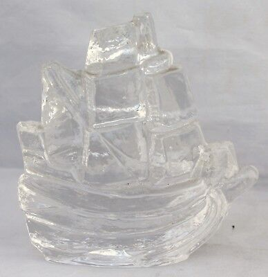 Glass/Crystal Paperweight - Sailing Ship - Pukeberg, Sweden
