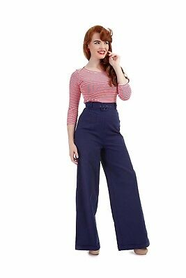 BNWT Collectif Vintage 40's 50's Gertrude Belted Trousers Navy 12