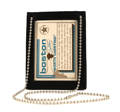 Boston Leather 5982-1 Neck Chain Double 2 ID Holder Black 2 I.D. Holderno Badge