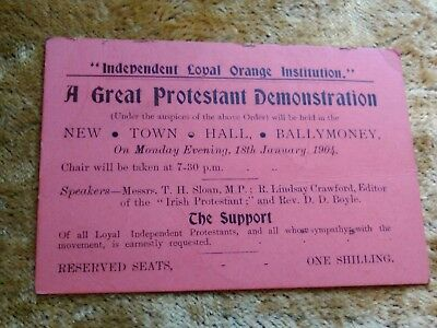 Protestant demonstration 1904 Ballymoney Antrim Ireland TICKET Loyal Orange