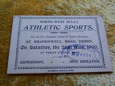 North west RIC Royal Irish Constabulary Derry Ireland TICKET in aid orphans 1900