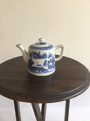 Chinese Canton Blue And White Tea Pot
