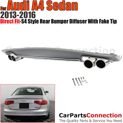 Diffuser Audi A4 4Dr Sedan 2013-2016 S4 Style For S-Line Bumper Only Muffler Tip