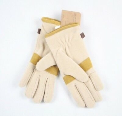 Timberland Women's Cream Fleece Gloves With Leather Trim  - L