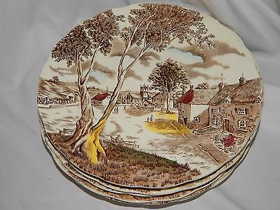 W H Grindley SUNDAY MORNING Staffordshire DINNER PLATES - SET OF 8