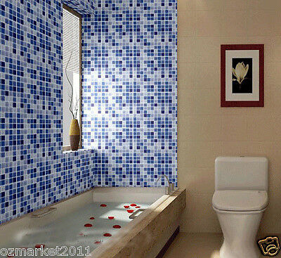Blue Mosaic Grid Modern Customized Waterproof Environmental Oil-proof Wallpaper