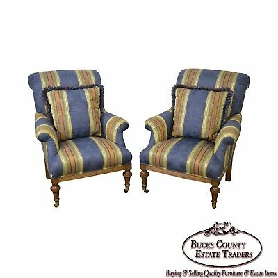 Custom Quality Pair of Regency Style Bergere Lounge Chairs