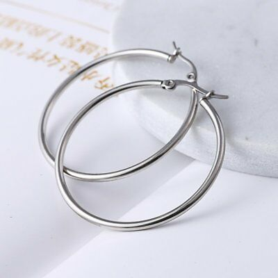 1Pair Women Fashion Stainless Steel Silver Big Hoop Earrings Gift Size 10mm-70mm