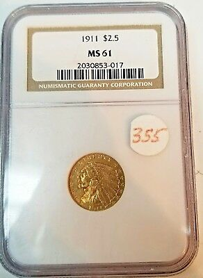 1911  $2.5 GOLD INDIAN HEAD QUARTER EAGLE NGC MS61 Beautiful mintstate gold