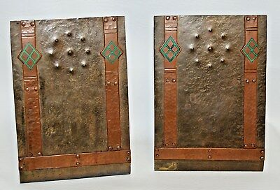 Antique Hammered Copper Bronze Arts & Crafts Mission Art Deco Bookends