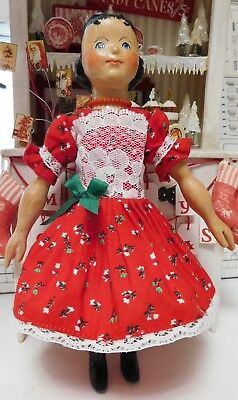 Hitty Doll Dress - Red holiday print and lace