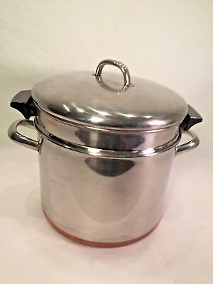 Vintage Revere Ware Copper Bottom Industrial 10 Quart Stock Pot Pasta Strainer