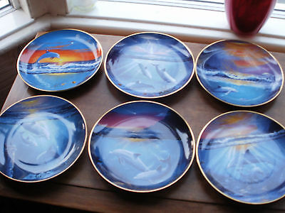 """6 x Franklin Mint Heirloom Collection 8"""" Dolphin Plates"""