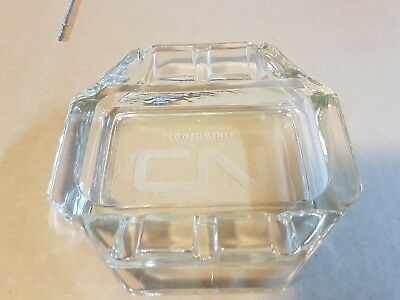 rare vintage CN canadian national railway compliments clear glass ashtray