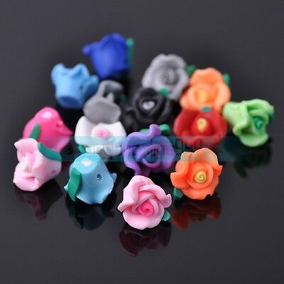 Sweet Rose Flower Polymer Clay Charms Loose Spacer Beads DIY Craft Mixed Colors