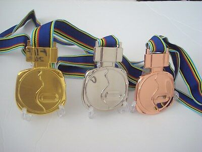 1972 Sapporo Japan Winter Olympic Medals Set with Ribbons and Display Stands !!