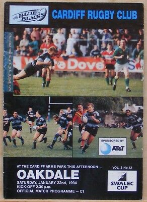 Cardiff V Oakdale. January 1994. Swalec Cup.
