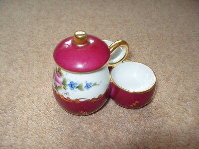 Pretty  French  china cruet set - floral design salt and pepper