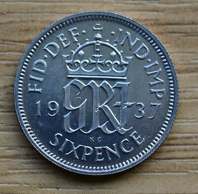1937  Proof  Sixpence.