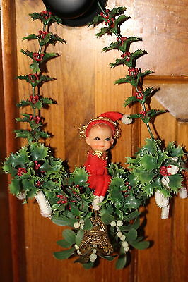 Vintage Christmas Decoration Knee Hugger Elf Wall Ornament Decoration