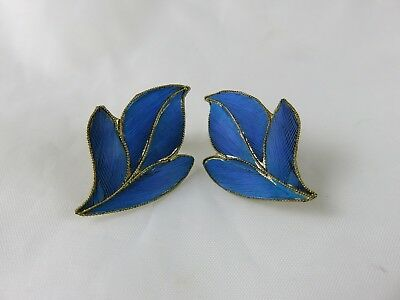 Antique Chinese Kingfisher Feather Clip on Earrings