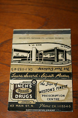 Vintage Matchbook Cover Advertising Weston's Finest Drug Store London Ontario