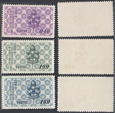 Taiwan 1957 - Mint stamps issued without gum.  Mi Nr.: 264-266..... A7514