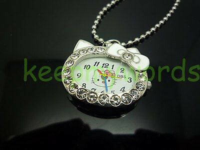 NEW DBS Kitty Cat Crystal Womens Girl Pendant Quartz Pocket Necklace Watch White