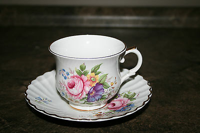 Foley Teacup and Saucer Old Foley Staffordshire England Flower Spray Pattern