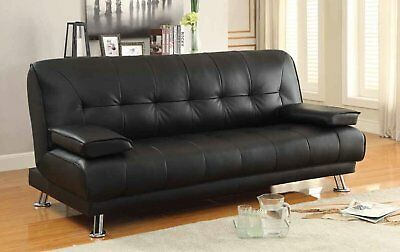 Faux Leather Black Sofa Bed recliner 3 Seater Luxury Modest Design LIMITED STOCK
