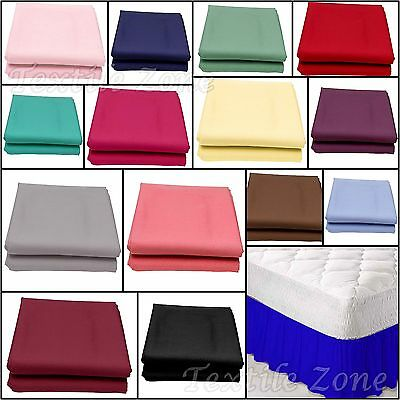Luxury Plain Dyed Poly Cotton Frilled Platform Base Valance Bed Sheets All Sizes