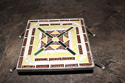 Vintage Ceramic Trivet Hot Plate on Metal Stand with Metal Round Ball Feet