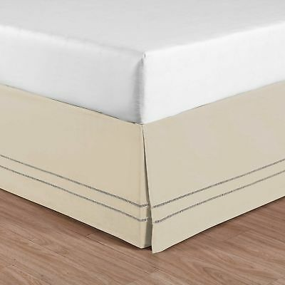 Linen Hemstitch King Size Bed Skirt in Stone