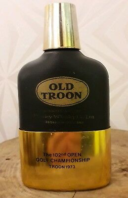 Old Troon Paisley Whiskey Co. Ltd 102nd open gold championship hip flask 1973