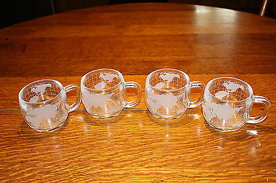 Vintage Nestle World Glass Mugs Frosted Globe Pattern 1970's Coffee Cup