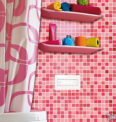 Pink Mosaic Grid Modern Customized Waterproof Environmental Oil-proof Wallpaper
