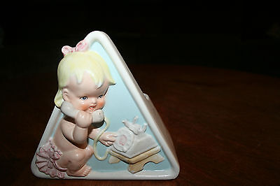 Vintage Baby Girl Planter Flower Display Newborn Gift Made In Japan