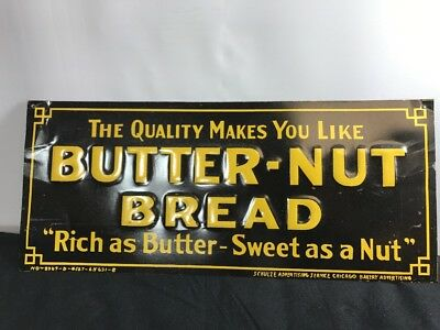 "Vintage 1930's Butter-Nut Bread Grocery Store Gas Oil 14"" Embossed Metal Sign"