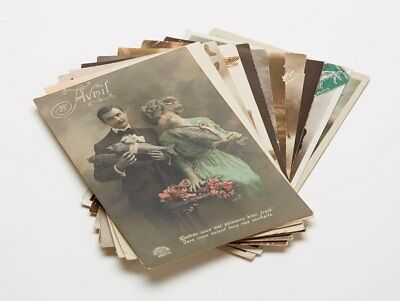 Eleven French Hand Coloured Black & White Postcards 1910/20