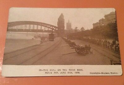 WW1 Era Postcard - Guns On the Rhine Bank Peace Day June 28th 1919