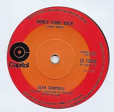"Glen Campbell - Honey Come Back - 7"" Single"