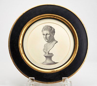Antique/Vintage Framed Classical Bust Rounded Print 19/20Th C.