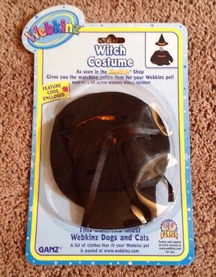 New Webkinz 2 Pc Witch Costume W/ Online Feature Code--Fits Most Cats, Dogs