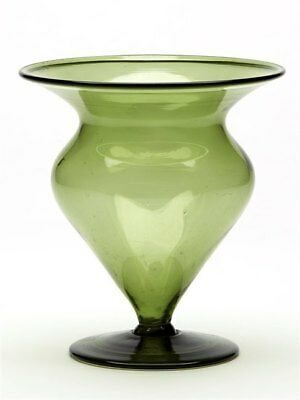 Antique Green Glass Bud Shaped Vase James Powell C.1900
